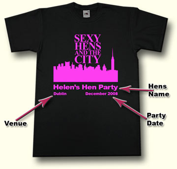 Sexy Hens and The City - Black Hen Party T Shirt