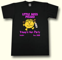 little miss pissed hen party t shirt